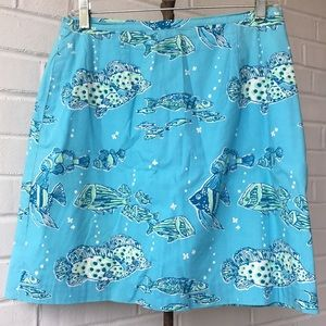 Vintage Lilly Pulitzer Aqua Blue Fish Skirt Sz 12